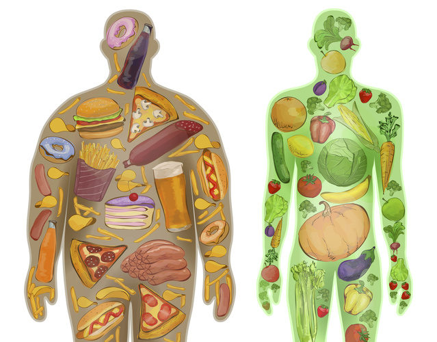Human, thin, fat. Nutrition, diet, food. Vector illustration